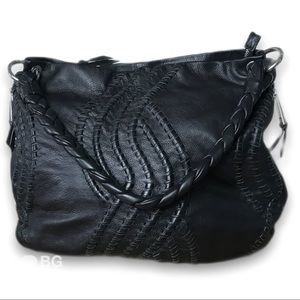 Kenar leather braided hobo style shoulder bag